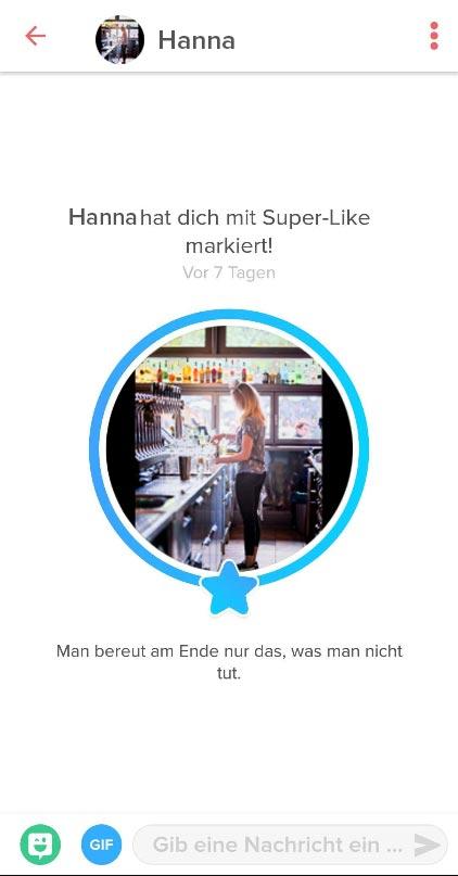 Super-Like auf Tinder von einer Frau