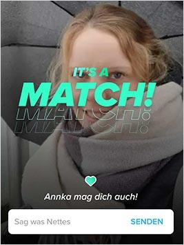 Ein Match auf Tinder. So sieht es aus.